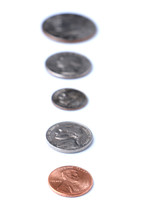 row, American currency, coins, background, penny, dime, nickel, quarter, half dollar