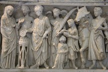 Ancient Roman carvings showing a city scene