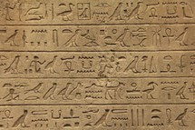 Hieroglyphics on an ancient Egyptian monument