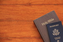 Mission trip, passport and Bible