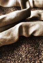 beans in a burlap sac