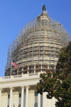 Capital building with scaffolding