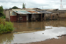 Shanty building with flood damage in Africa.