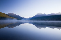 steam, mist, over, lake, water, sunrise, mountains, reflection, nature, outdoors