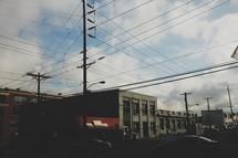 crisscrossing power lines