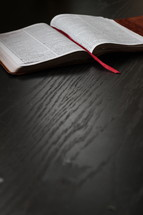 bookmark on the pages of a Bible