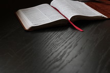 bookmark in the pages of a Bible