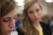 Unhappy teen girls.