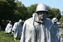 Statues of army soldiers; Korean War Memorial in Washington D.C.