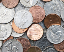 American currency coins background