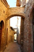 A narrow street in San Gimignano, Italy