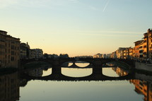 Sunset on the Arno River in Florence, Italy