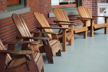 row of adirondack chairs