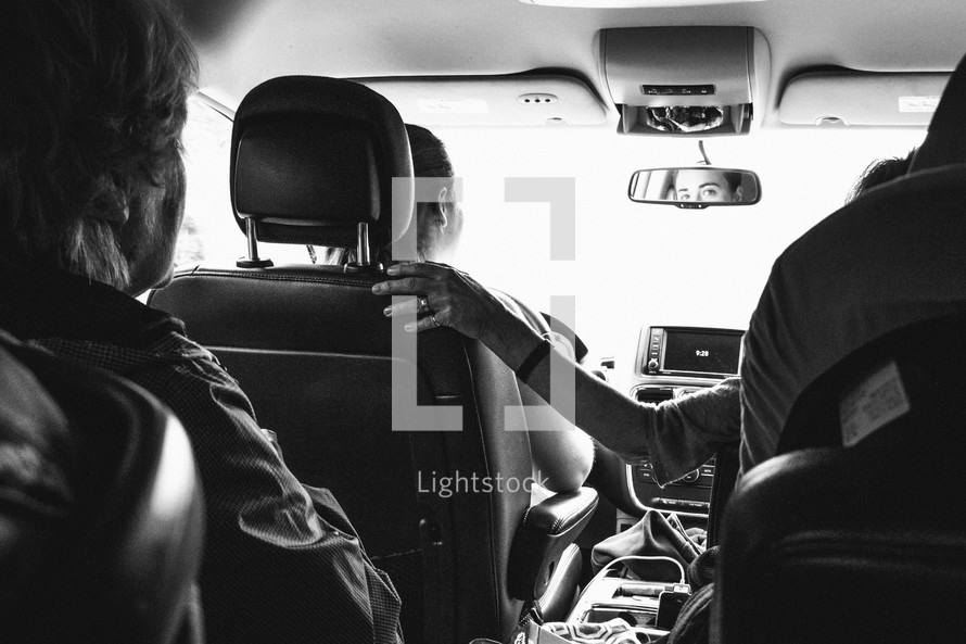 passengers in a vehicle