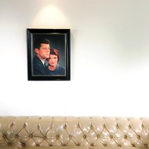 Painting of John F Kennedy and Jackie Kennedy