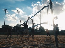 a beach volleyball game