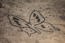 butterfly stamp on concrete