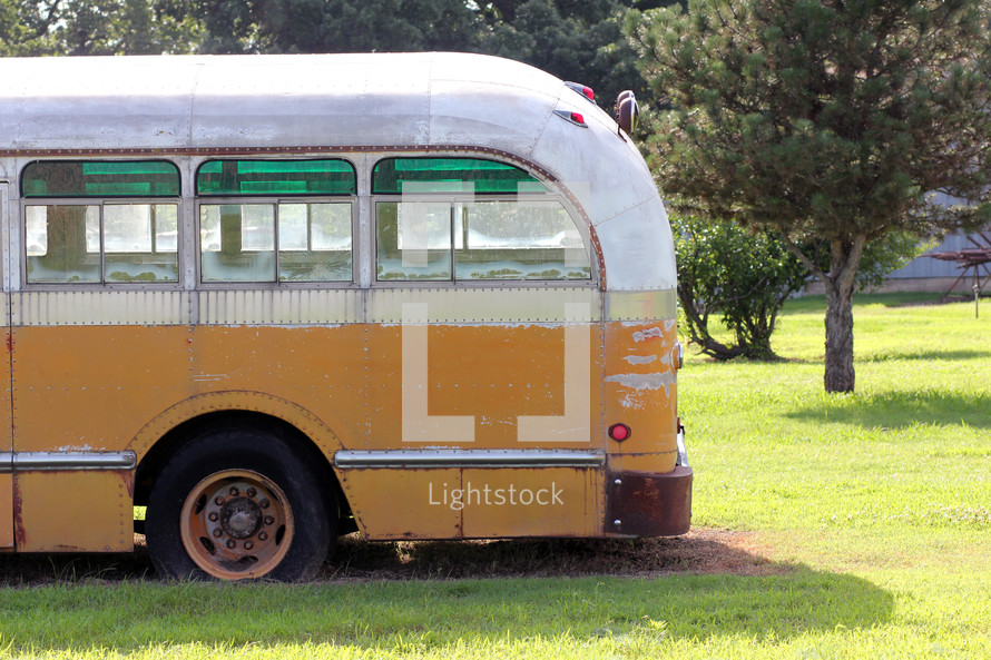 back of a vintage bus