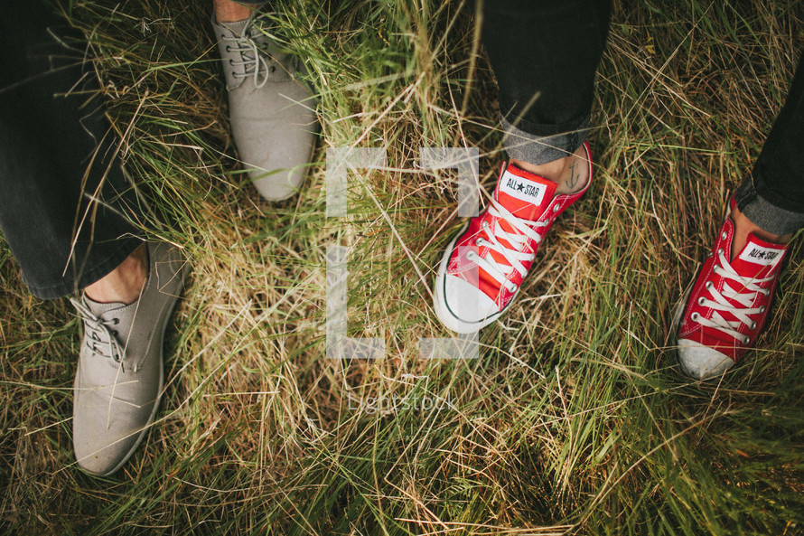 sneakers and shoes in the grass