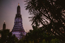 temple tower at dusk in Thailand