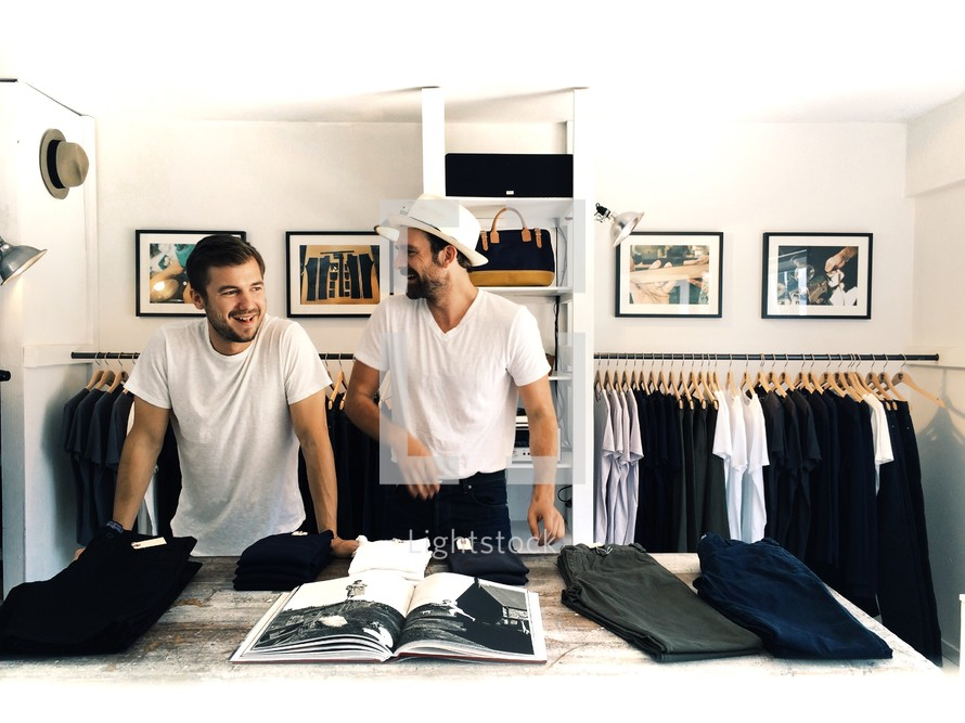 two men clothes shopping