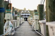 docked boat in a marina