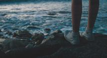 woman, feet, sneakers, beach, ocean