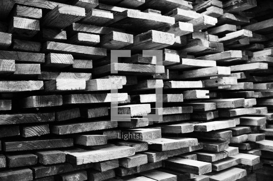 Stacks of sawn lumber