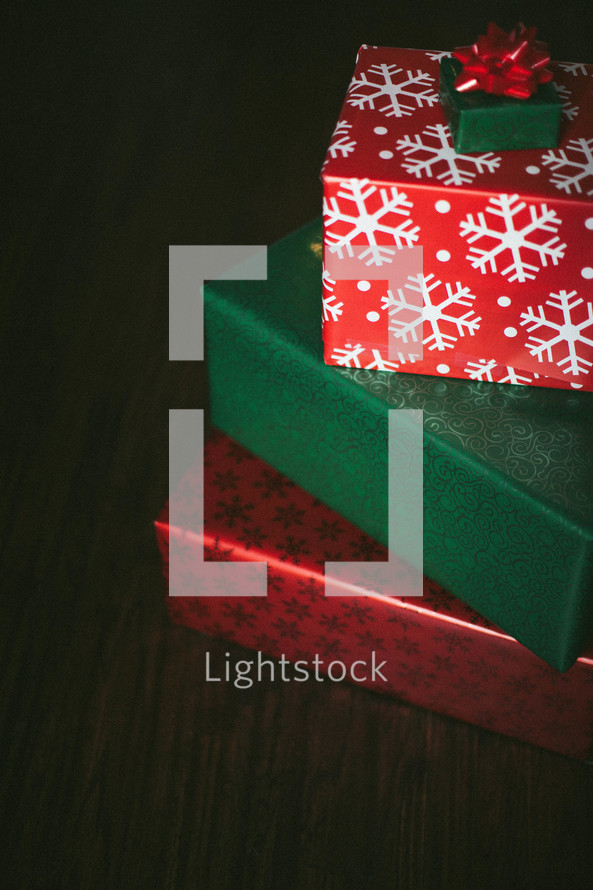 Christmas presents stacked on top of each other