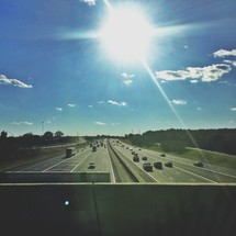 sunburst over a highway
