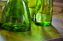 green glass jars and bottles
