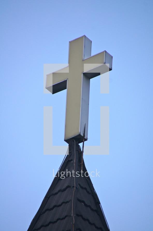 Christian Cross. Church steeple.