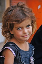 Eyes of an innocent Kurdish refugee girl child [For similar, search for Ethnic Smile Face]