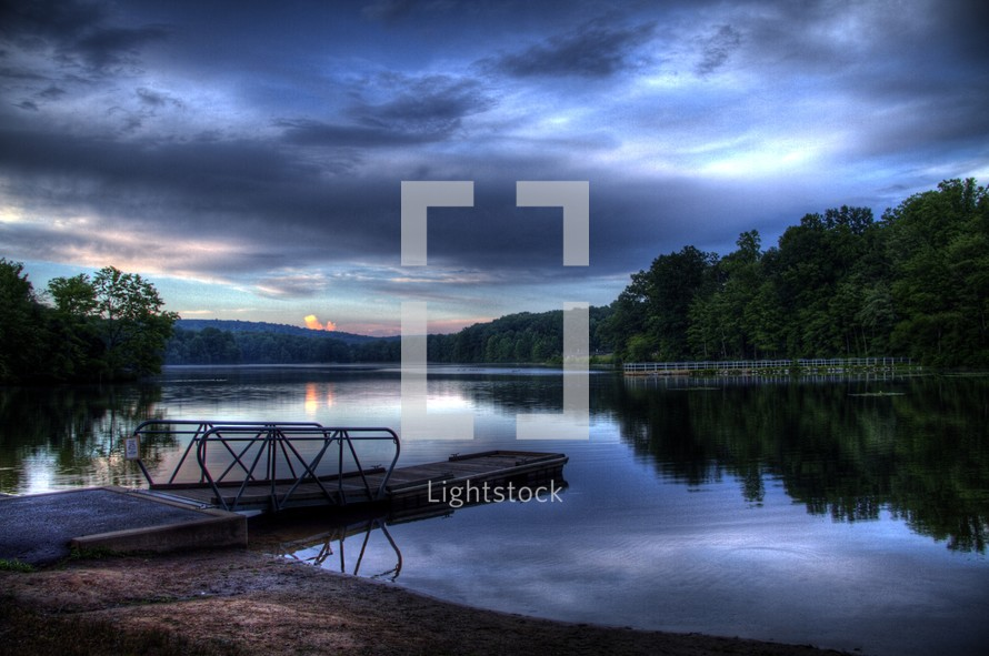 floating docks on a lake