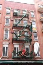 Christmas wreath on a fire escape