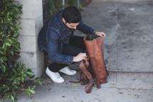 man adjusting his bag