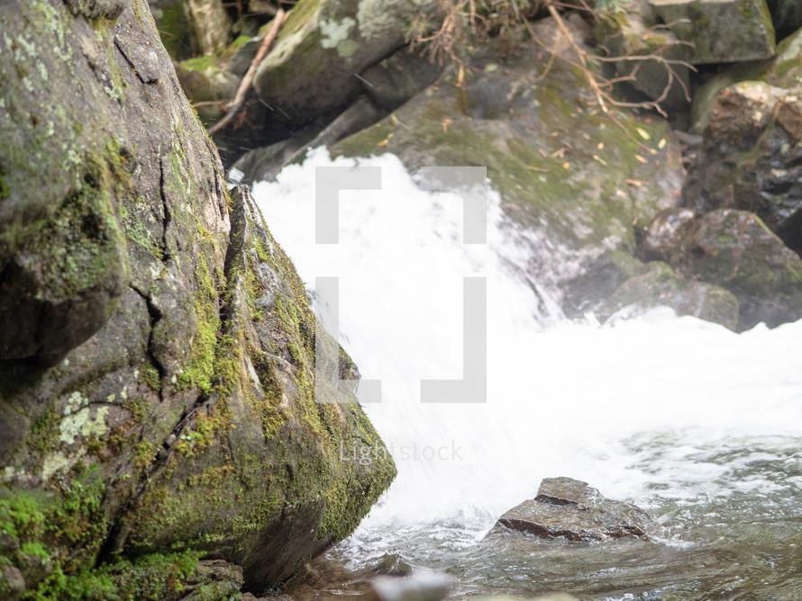 flowing water over rocks