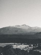grainy black and white mountain landscape