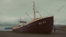 abandoned rusty ship