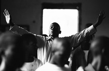 Man raising his hands in worship