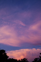 Pink and purple clouds at dusk