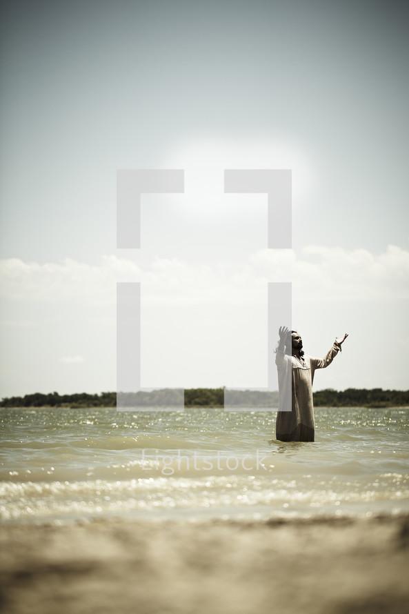 Jesus preparing for baptism
