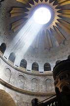beam of light inside the church of the holy sepulchre