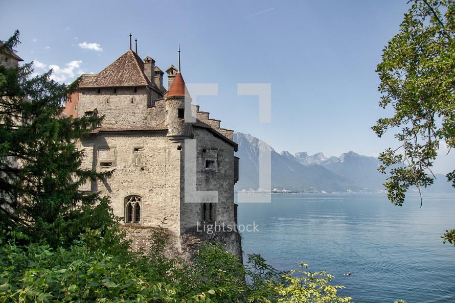 Castle by the water in Switzerland