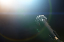 microphone and halo of light