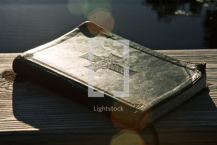 Leather embossed bible with cross