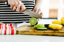 slicing limes and lemons