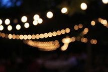 bokeh string of lights at night