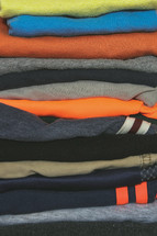 Stack of folded boys clothing
