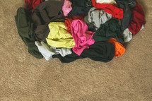 piles of dirty clothes